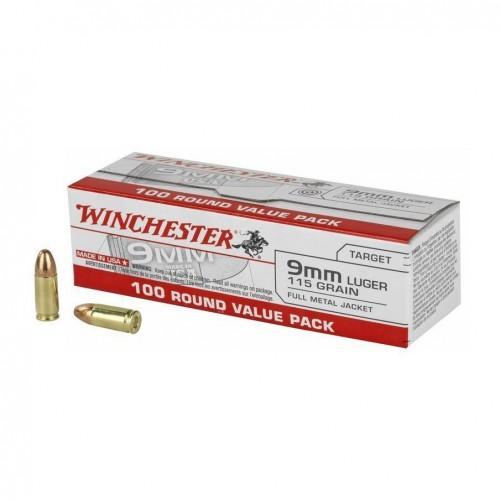 Winchester USA 9mm 115gr Ammunition - 100Rds